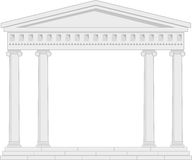 Portico (Colonnade), an ancient temple. Illustration of architectural element - Portico (Colonnade), an ancient temple: grey, vector isolated, white background Stock Image