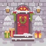 Portico decorato bianco di Natale con gli abeti ed i presente Immagine Stock Libera da Diritti