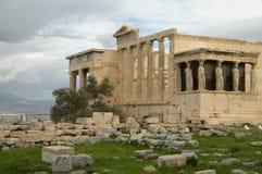 Portico del Caryatid di Erechtheum a Akropolis Fotografie Stock Libere da Diritti