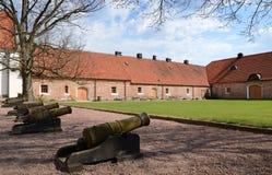 Portico del castello con i vecchi cannoni immagine stock libera da diritti