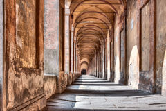 Portico di San Luca, Bologna, Italy. The porch that connects the Sanctuary of the Madonna di San Luca to the city, a long (3.5 km) monumental roofed arcade Stock Photos