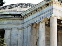 Portico and dome, Jefferson Memorial. Detail of ionic order columns on portico of Jefferson Memorial on the shore of the Tidal Basin in Washington DC royalty free stock photos