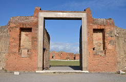 Portico and entrance to building of Eumachia, Pompeii Royalty Free Stock Photo
