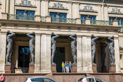 Portico with Granite Atlantes Stock Images