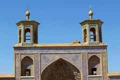 Portico of Nasir-ol-molk Mosque, Shiraz, Iran royalty free stock image