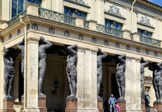 Portico of the New Hermitage with atlantes, St Petersburg Royalty Free Stock Photo