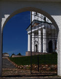Portico of an Orthodox Church. View through the gate to the portico of an Orthodox Church royalty free stock photography