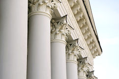 Portico and pediment of the building with columns in Lviv. Classical portico and pediment of the building with columns. Ukraine, Lviv, the building of the Stock Photo