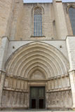Portico of San Miguel to Gerona Cathedral Stock Image