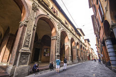 Porticoes of Bologna, Italy. The Porticoes of the medieval city of Bologna, Italy, part of the Unesco Tentative Lists for World Heritage Site Royalty Free Stock Photos