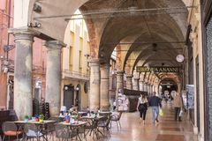 Porticoes of Bologna, Italy. The Porticoes of the medieval city of Bologna, Italy, part of the Unesco Tentative Lists for World Heritage Site Royalty Free Stock Image