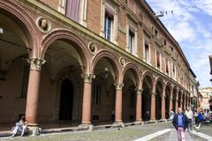 Porticoes of Bologna, Italy. The Porticoes of the medieval city of Bologna, Italy, part of the Unesco Tentative Lists for World Heritage Site Royalty Free Stock Images