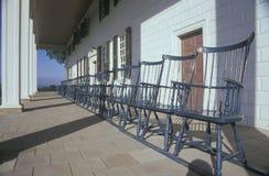 Portiek bij Mt Vernon, huis van George Washington, MT Vernon, Alexandrië, Virginia stock afbeeldingen