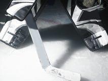 Portiere del hokey di ghiaccio Fotografie Stock