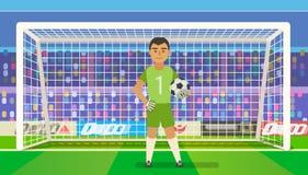 Portiere di calcio che tiene scopo sull'illustrazione di vettore dell'arena piano Custode di calcio nel telaio Fotografie Stock Libere da Diritti