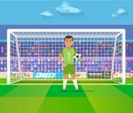 Portiere di calcio che tiene scopo sull'illustrazione di vettore dell'arena piano Custode di calcio nel telaio Fotografia Stock