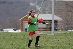 Portiere di calcio con la sfera Fotografia Stock Libera da Diritti