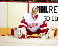 Portiere Jimmy Howard #35 di Detroit Red Wings Fotografia Stock