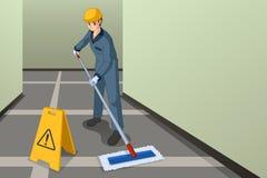 Portiere lavorante Mopping l'illustrazione del pavimento illustrazione vettoriale