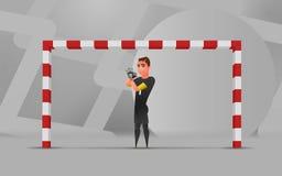 Portiere wating di calcio Illustrazione di progettazione di carattere Fotografia Stock