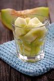 porties van verse meloen stock afbeelding