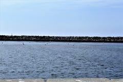 Portifino加利福尼亚海边在雷东多海滩,加利福尼亚,美国 免版税库存照片