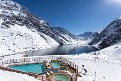 Portillo, лыжный курорт, Лос Анды Чили, Южной Америки Стоковое фото RF