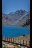 Portillo Inca Laguna e montagne Cile Fotografia Stock