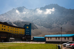 Portillo Mountains and Hotel Chile stock photography
