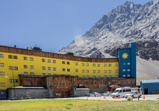 Portillo Mountains and Hotel Chile Royalty Free Stock Images
