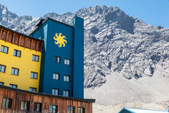 Portillo Mountains and Hotel Chile royalty free stock photo