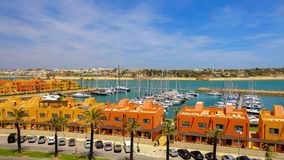 PORTIMAO, PORTUGAL - MAI 24, 2019: View on residentical area of Portimao in Algarve, Portugal. PORTIMAO, PORTUGAL - MAI 24, 2019: View on the residential area of royalty free stock image