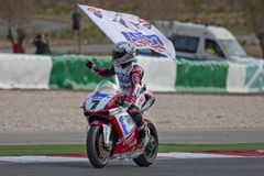 Superbikes 2011. PORTIMAO, Portugal - October 16:  The Superbikes World Championship first place winner, Carlos Checa, celebrating the end of the championship Royalty Free Stock Images