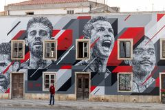 Grafitti painting of several soccer celebrities. PORTIMAO, PORTUGAL: 20th MAY 2018 - Graffiti painting of several celebrities including Cristiano Ronaldo soccer Stock Photography
