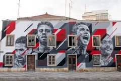 Grafitti painting of several soccer celebrities. PORTIMAO, PORTUGAL: 20th MAY 2018 - Graffiti painting of several celebrities including Cristiano Ronaldo soccer Royalty Free Stock Photo
