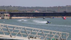 PORTIMAO, PORTUGAL : 20th MAY, 2018 - Portuguese Grand Prix - F1 Powerboat racing event of 2018 edition held on Portimao. Arade river, Portugal stock footage