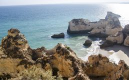 Portimao rocks in Algarve, Portugal Stock Image
