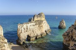 Portimao rocks in Algarve, Portugal Royalty Free Stock Images