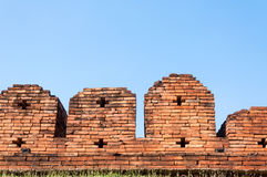 A portion of the ancient fortified city wall built of brick with cross bow cutouts and crenelations Royalty Free Stock Photography