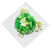 Portion of Apple Jello on white Stock Images