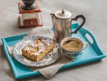 Portion of apple pie and a cup of coffee Royalty Free Stock Image
