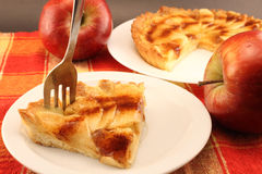 Portion of apple pie on a plate Royalty Free Stock Photos