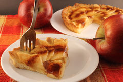 Portion of apple pie on a plate Stock Photography