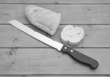Portion of baguette with a slice cut off Royalty Free Stock Photo