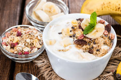Portion of Banana Yogurt Royalty Free Stock Photo