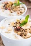 Portion of Banana Yogurt Stock Images