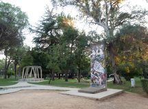 Portion of Berlin Wall and Concrete Pillars from Labor Camp, Spac, at Post-Block Checkpoint in Tirana Albania