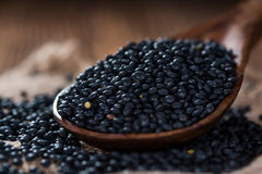 Portion of Black Lentils Stock Photography