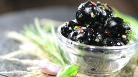 Portion of Black Olives (not loopable) Royalty Free Stock Photography