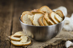 Portion of bread chips (selective focus) Stock Photography